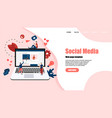 web template with social media concept vector image vector image