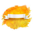 white ribbon banner on autumn leaves background vector image vector image