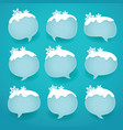 Winter labels in form of speech snow bubbles vector image