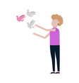 woman releases dove icon vector image vector image