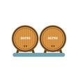 wooden barrels aging of wine process winery vector image