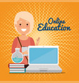 Young woman with laptop education online