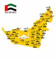Map United Arab Emirates UAE Desert and oil rigs vector image
