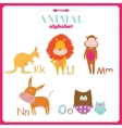 Cute zoo alphabet with cartoon and funny vector image