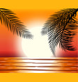 silhouette of palm tree on beach vector image