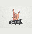 realistic hand rock and roll hand sign rock human vector image