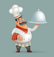 3d happy smiling male chief cook serving dish vector image vector image