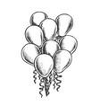 balloons heap decorated curly ribbon retro vector image vector image