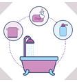 bathtub towel soap and liquid soap bathroom vector image vector image