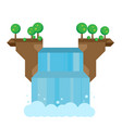 beautiful flat waterfall landscape vector image