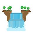 beautiful flat waterfall landscape vector image vector image