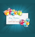 christmas balls with clean white banner for your vector image vector image