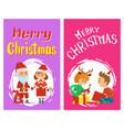 christmas children open gifts santa snow maiden vector image vector image
