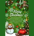 christmas tree gifts and snowman sketch poster vector image vector image