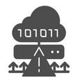 cloud cyber attack solid icon ddos server hack vector image vector image