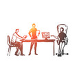 colleagues office discussion social network vector image vector image