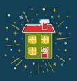 colored winter house icon in thin line style vector image vector image