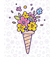 colorful of flower composition in waffle con vector image vector image