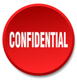confidential red round flat isolated push button vector image vector image