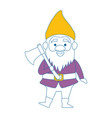 cute gnome with woodcutter ax character vector image