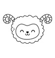 cute sheep head character on white background vector image