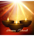 diwali background with bokeh lights and lamps vector image vector image