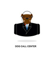 Doggy call Center Dog with headset Pet in costume vector image