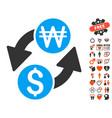 dollar korean won exchange icon with love bonus vector image vector image
