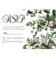 flower card wedding invitation rsvp with green vector image vector image
