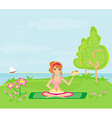 Girl on picnic and plate of sandwiches vector image vector image