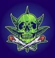green skull marijuana joint smoke vector image vector image