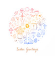 greeting card with colored easter doodles in vector image vector image