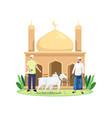 happy eid al adha sacrifice livestock vector image