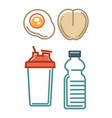 healthy nutrition poster with water containers and vector image