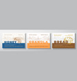hone granola and bread food label templates set vector image vector image