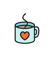 hot cup with heart valentine day flat color icon vector image vector image