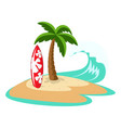 island with palm tree and surfboard vector image