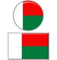 Madagascar round and square icon flag vector image