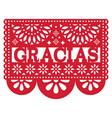 mexican papel picado design - gracias vector image