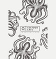 octopus design template hand drawn seafood vector image vector image
