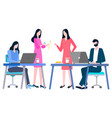 people sitting at table and communicating vector image