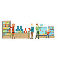 pet shop interior people buying animals feed vector image