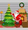 santa claus with christmas tree in living room vector image vector image