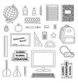 school supplies black outline digital stamps vector image