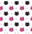seamless pattern face cat vector image vector image