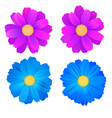 set of isolated buds of flowers blue and purple vector image vector image