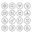 set round line icons eyelash extension vector image