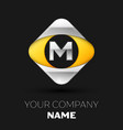 silver letter m logo in the silver-yellow square vector image vector image