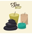 spa beauty and health aroma candles and hot stones vector image