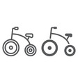 tricycle line and glyph icon bicycle and child vector image